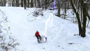 изображение падения с велосипеда с эффектом молнии