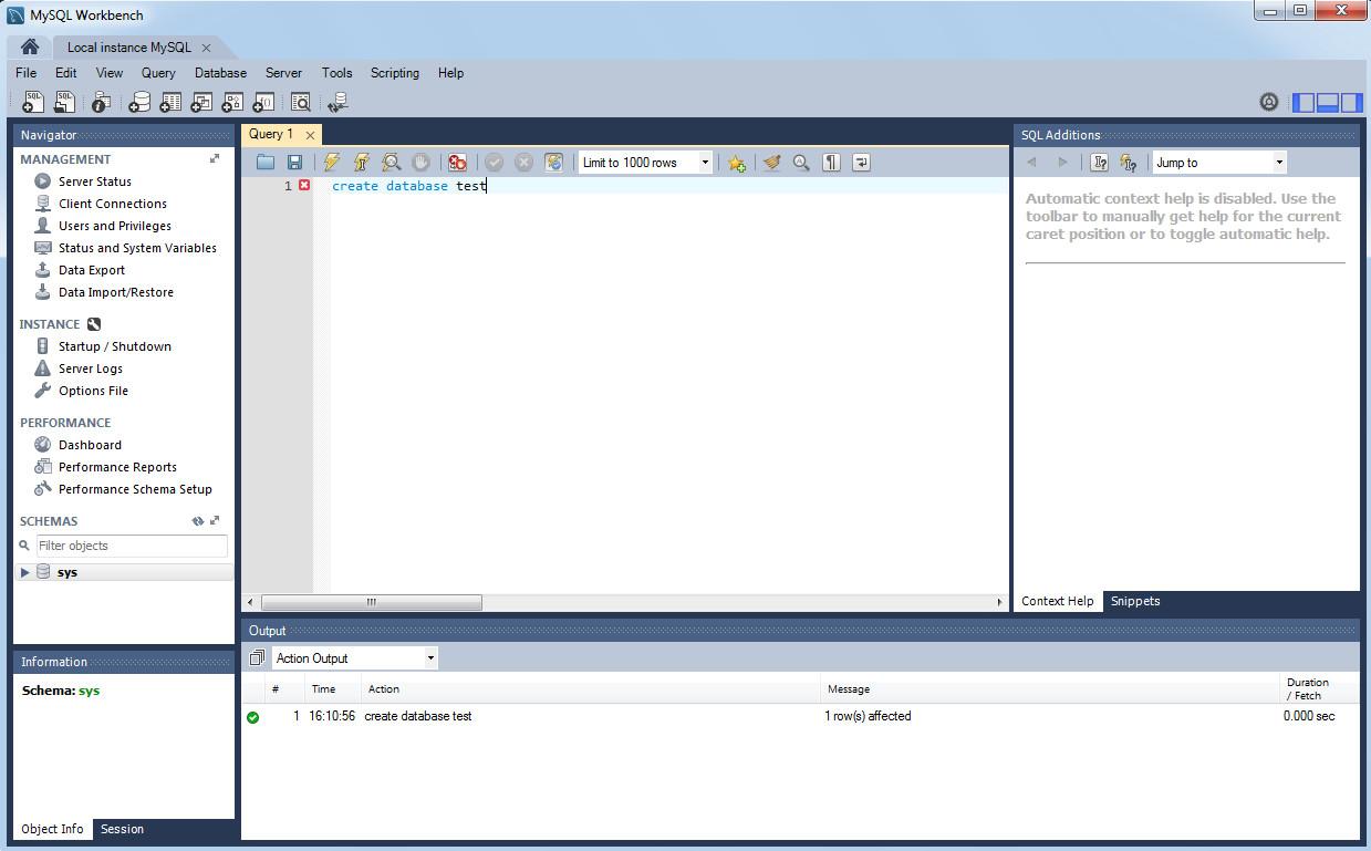создаем базу данных test в mysql workbench