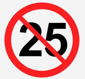 знак отмены ограничения скорости 25 км/ч