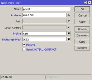 скриншот настройки mikrotik ipsec peer